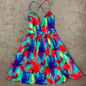 Zara Bright Feather Print Fit & Flare Dress